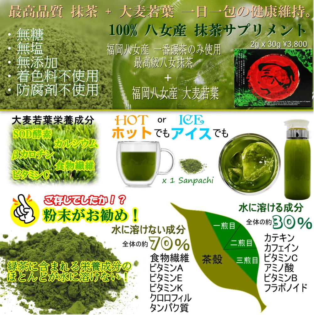 三八 抹茶 大麦若葉 成分 効果 効能